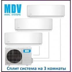МУЛЬТИ-СПЛИТ-СИСТЕМА MDV MDSAI-09HRFN1*3+MD3O-21HFN1 на три комнаты по 20м2