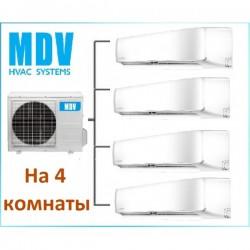 МУЛЬТИ-СПЛИТ-СИСТЕМА MDV MDSAI-09HRFN1*4+MD4O-36HFN1 на четыре комнаты по 25м2