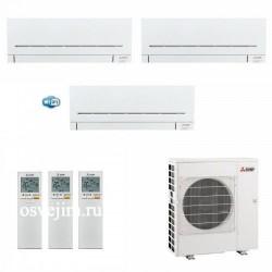 МУЛЬТИ СПЛИТ-СИСТЕМА MITSUBISHI ELECTRIC MSZ-AP20VG + MSZ-AP20VG + MSZ-AP35VG (с Wi-Fi)  + MXZ-3E68VA на три комнаты 20м2  20м2 35м2